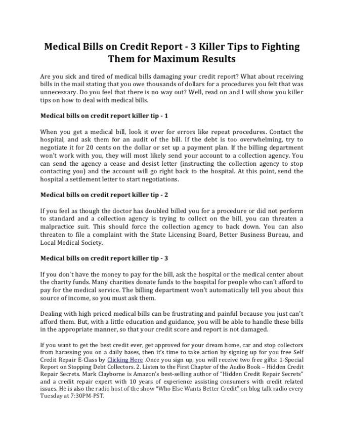 sample letter to dispute medical bills on credit report poemsrom co