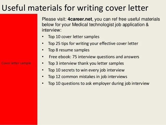 Medical Technologist Resume And Cover Letter Templates ...