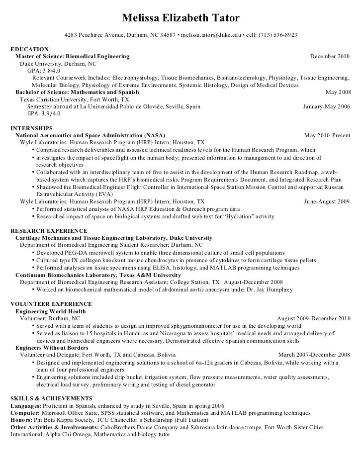 Curriculum Vitae Samples For Electrical Engineers