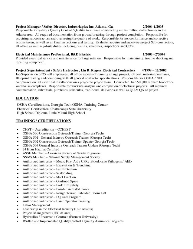 resume examples manager sample s safety coordinator resume sample