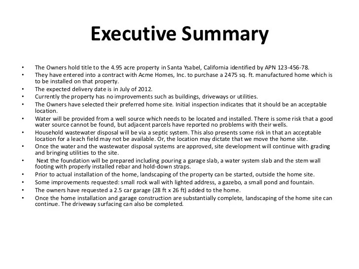 Doc585600 Example Executive Summary Report executive summary – Template Executive Summary