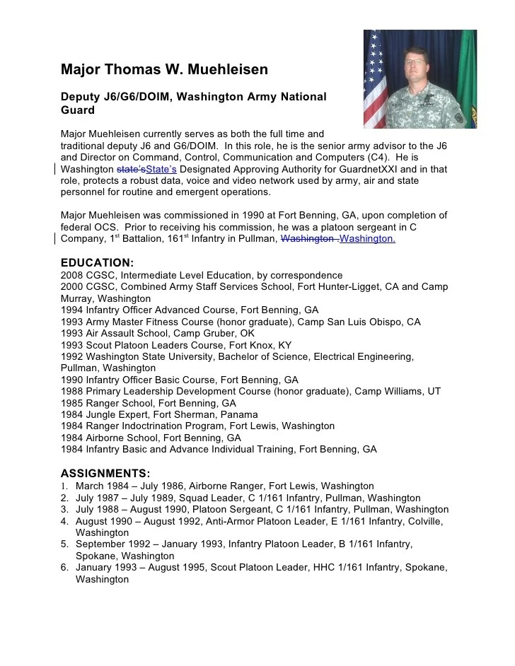Army Promotion Board Bio Example FREE DOWNLOAD