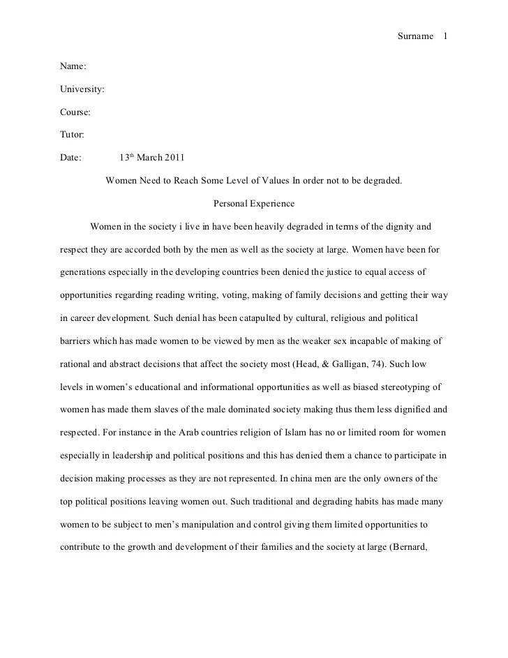 University level essay