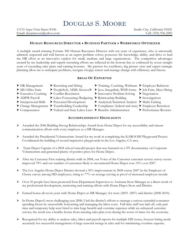 Download Resume For Hr Executive Human Resource Management Sample Brefash