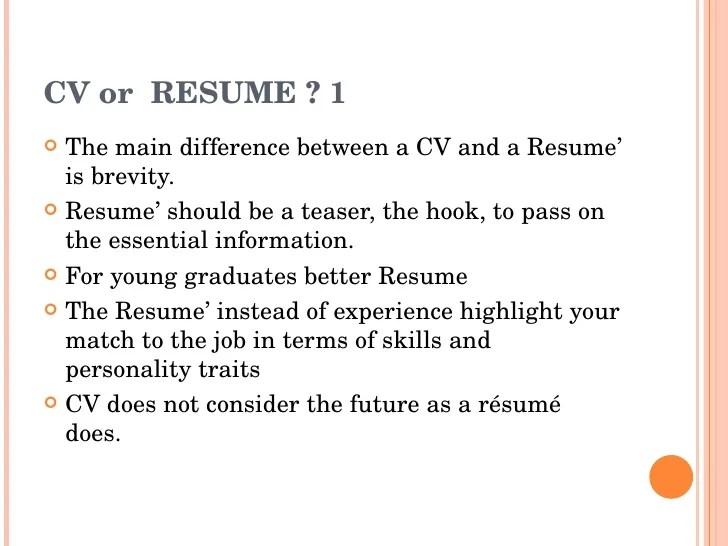 difference between cv and resume with comparison chart key what is