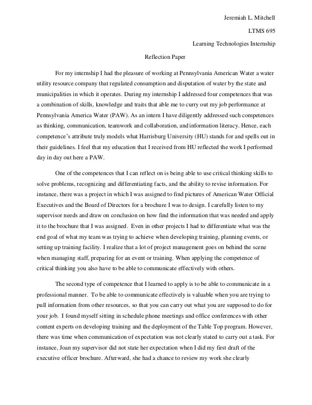reflection paper sample format my reflection paper reflection paper