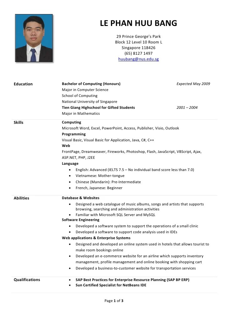 resume in singapore format