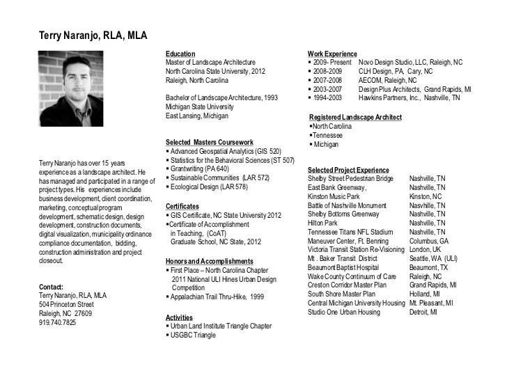landscape architecture curriculum vitae faceboulcom - Landscape Architect Resume