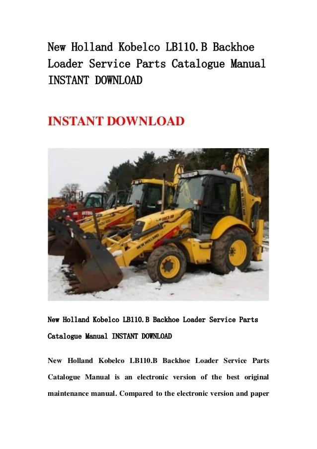 New holland kobelco lb110b backhoe loader service parts