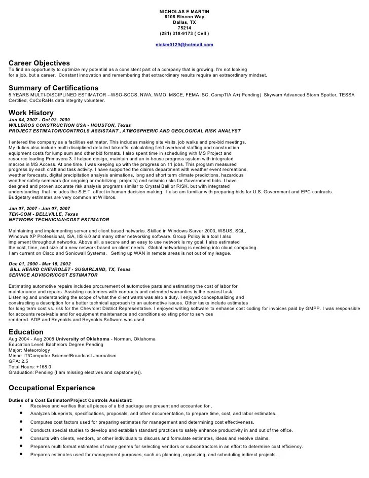 assistant estimator cover letter project estimator cover letter hvac ...