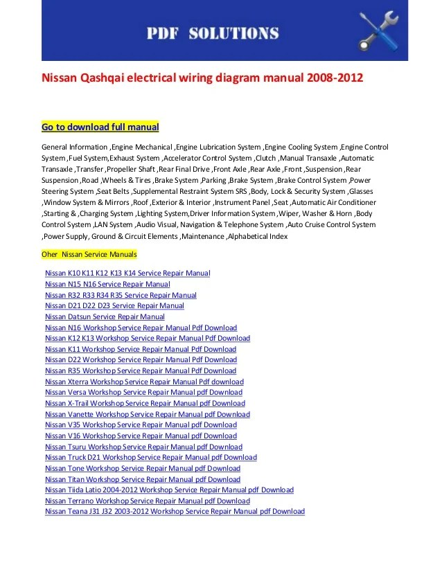 Nissan qashqai electrical wiring diagram manual 2008 2012
