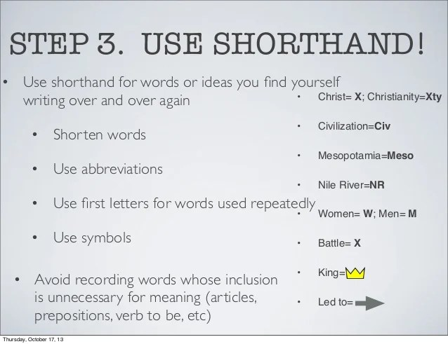 Shorthand Symbols For Note Taking