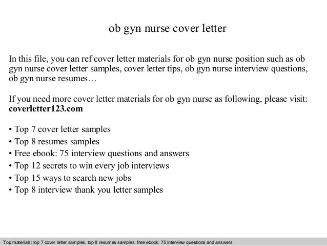 letter materials for gyn position such as gyn nurs