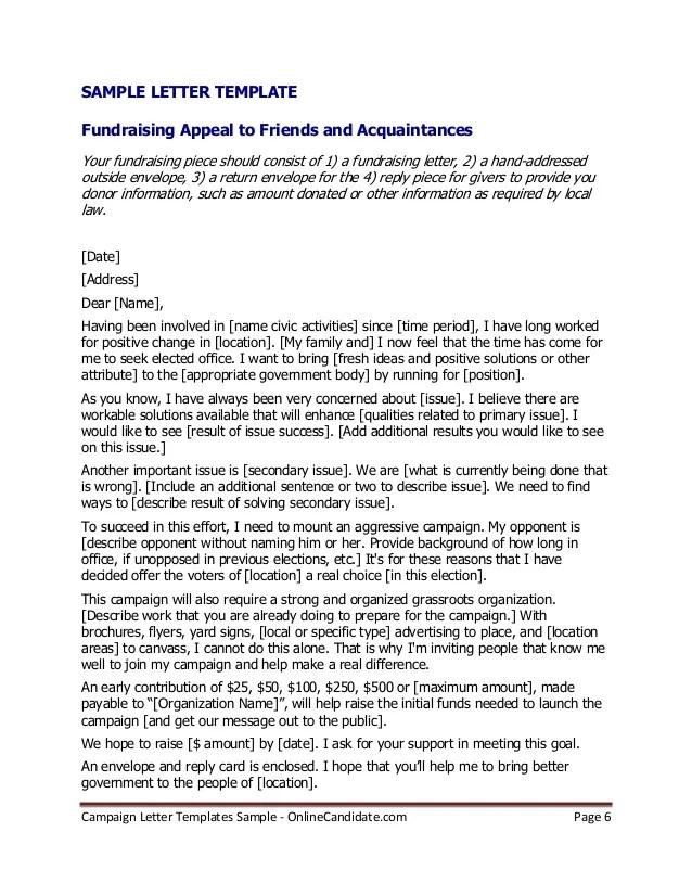 Superb Political Campaign Letter Templates Sample
