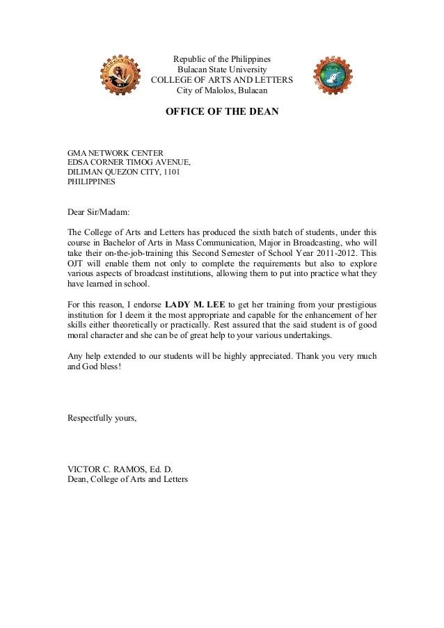 Resume And Application Letter For Ojt sample objective students – Endorsement Letter for Employment