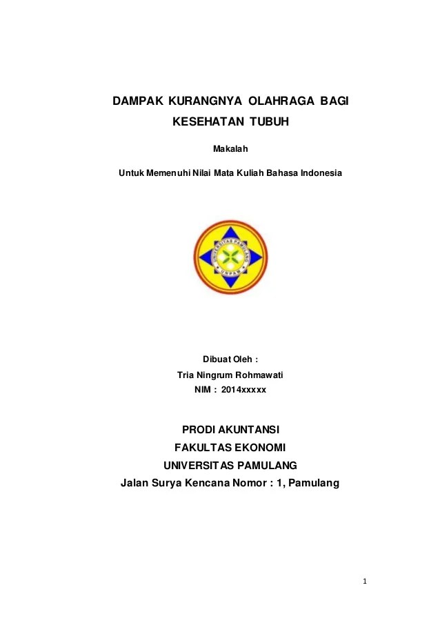 14 Makalah Bahasa Indonesia Universitas Pamulang
