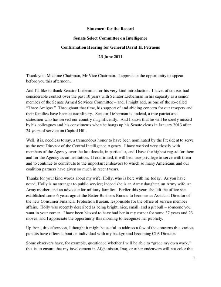 Opening Statement Of General David H Petraeus