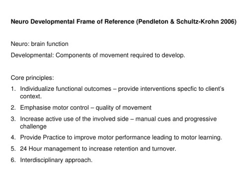 Neurodevelopmental Frame Of Reference In Occupational Therapy ...