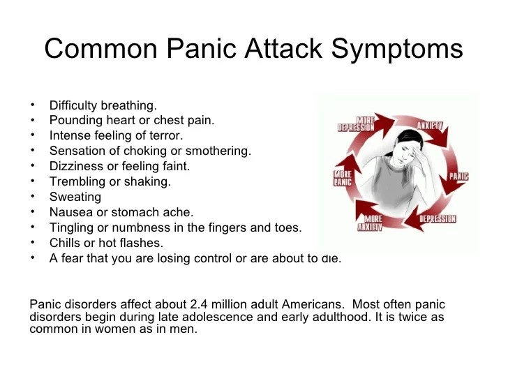 Common Panic Attack Symptoms <ul><li>Difficulty breathing. </li></ul><ul><li>Pounding heart or chest pain. </li></ul><ul><...