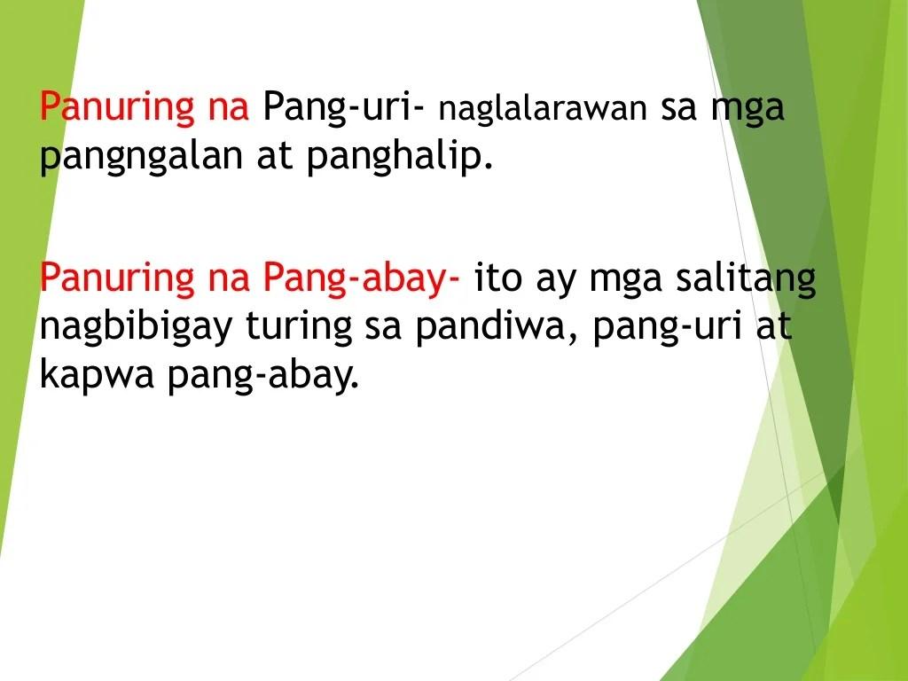Panuring Na Ginagamit Sa Modipikasyon Ng Pangungusap