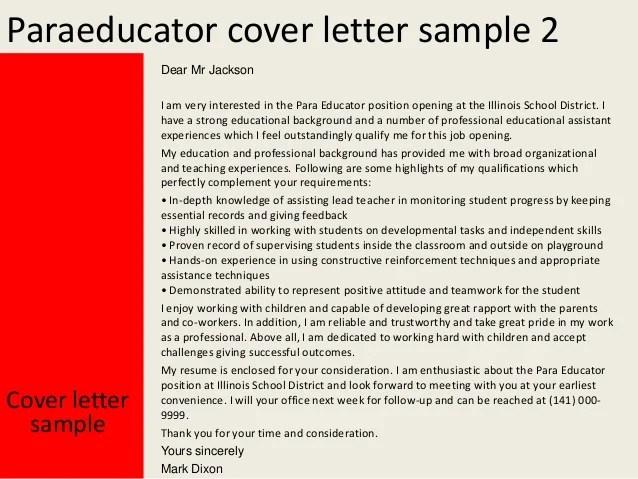 Paraeducator Resume. cover paraeducator cover letter ...