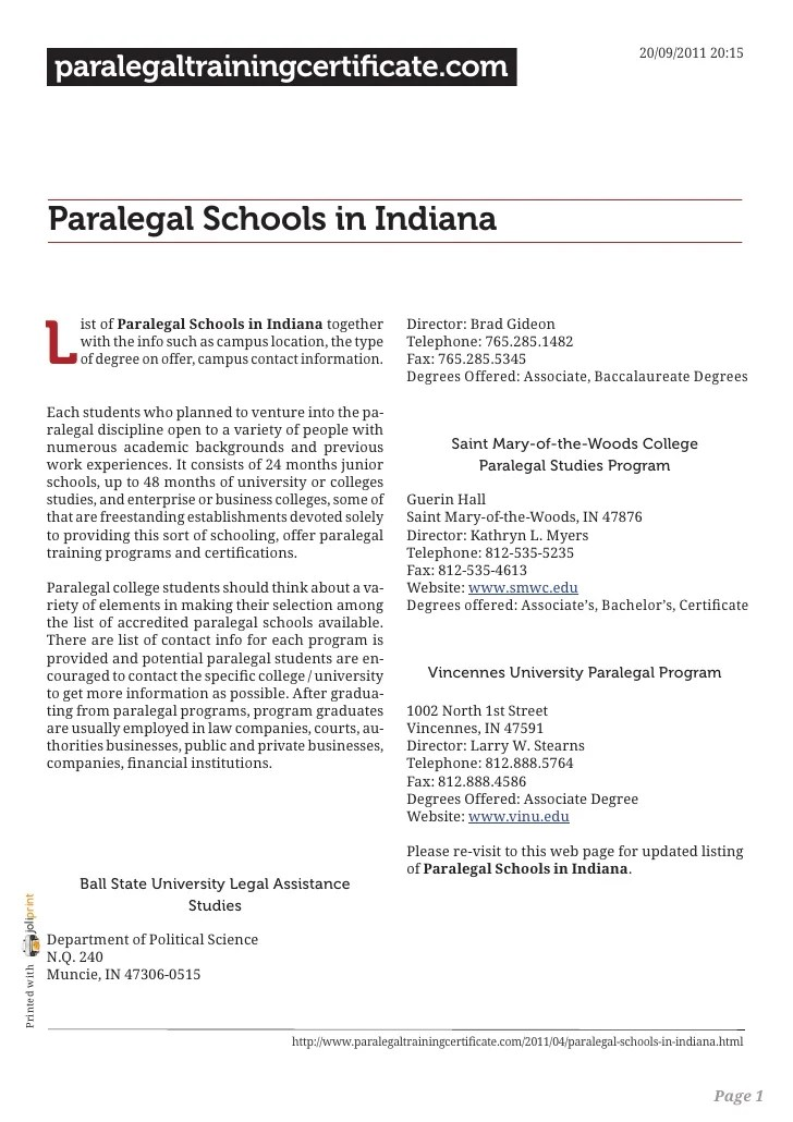 Paralegal Schools In Indiana
