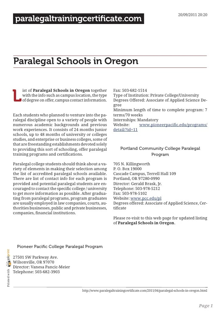 Paralegal Schools In Oregon