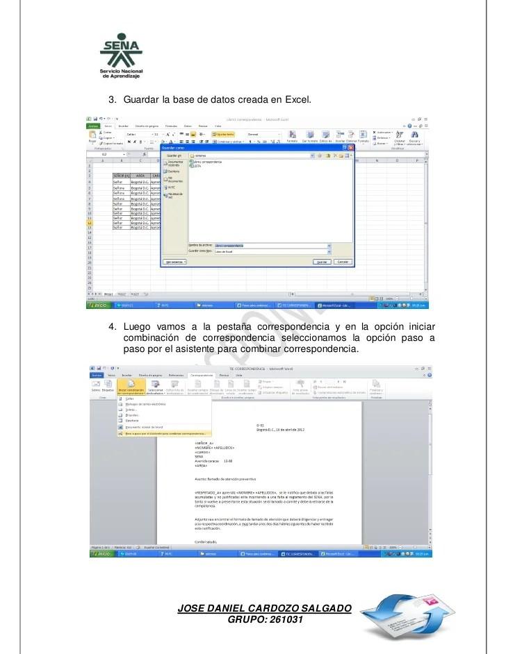 Pasos Para Combinacin De Correspondencia Entre Excel Y Word