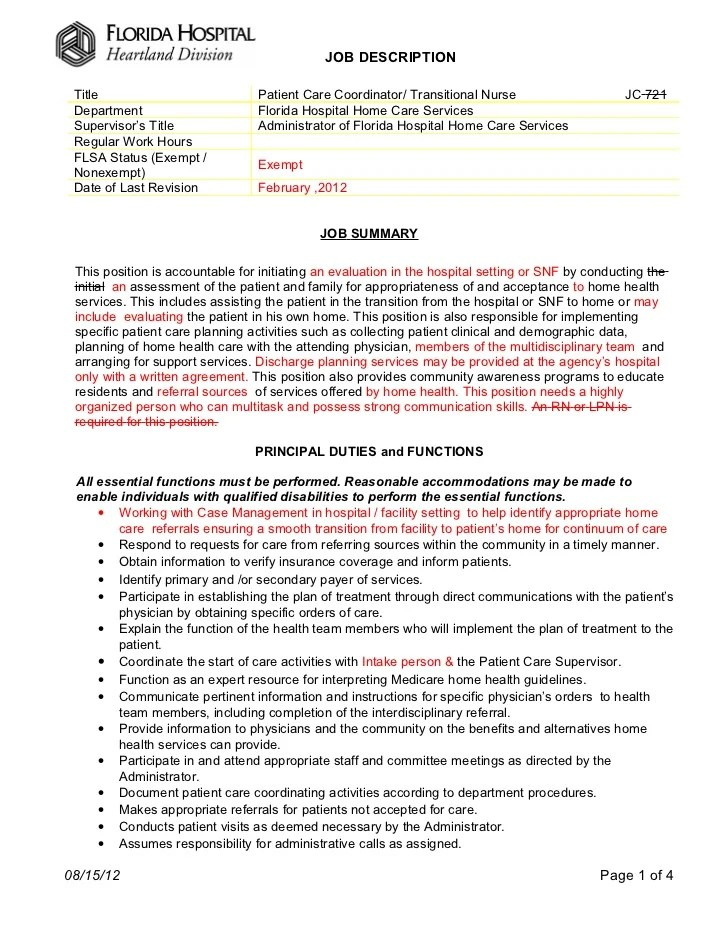 patient care coordinator resumes template patient care assistant duties