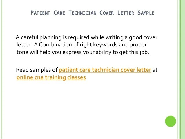 Pct Resume Skills. patient care technician cover letter no ...