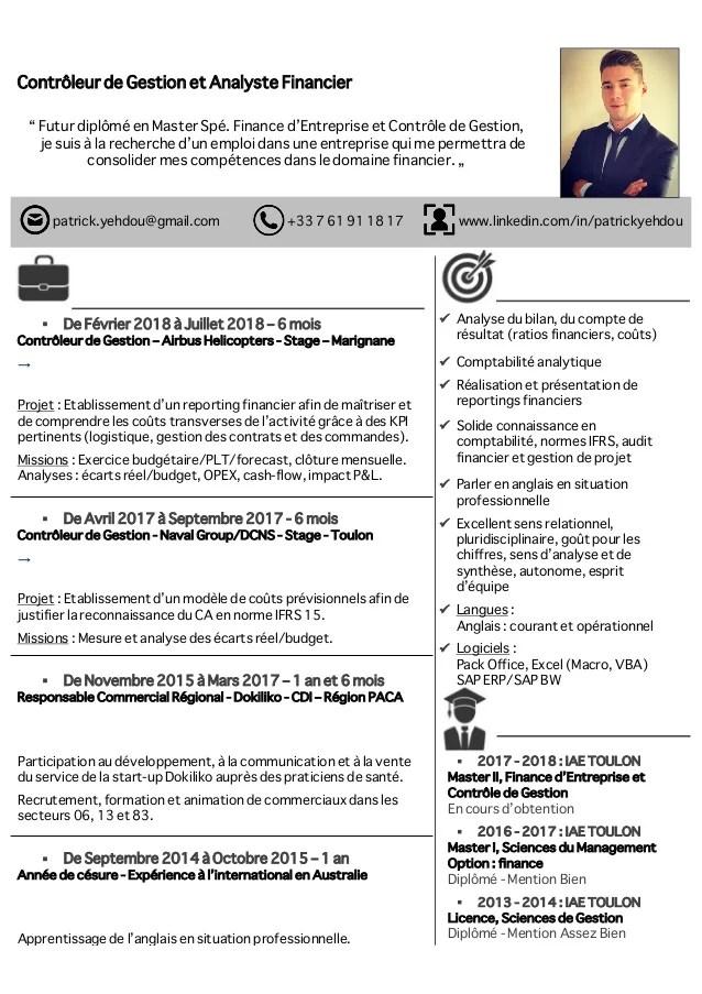 Cv Patrick Yehdou Controleur De Gestion Et Analyste Financier