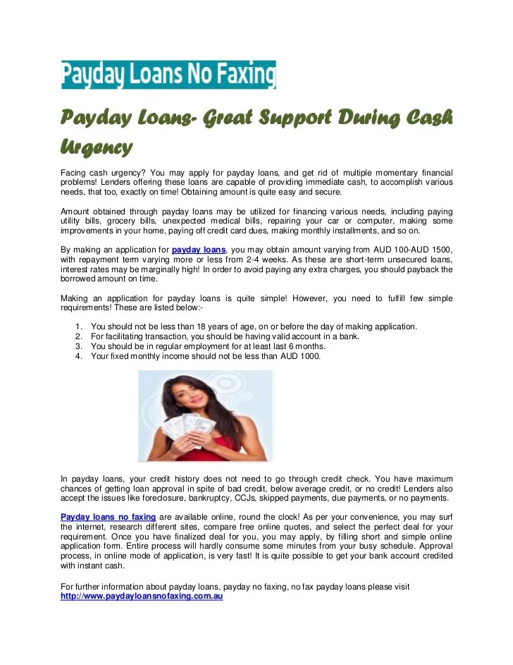 salaryday funds without having banking account