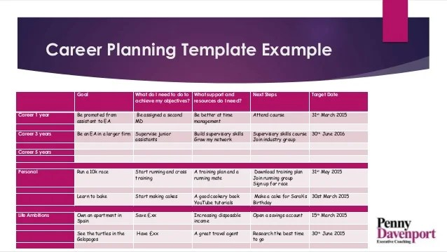 A career planning template example