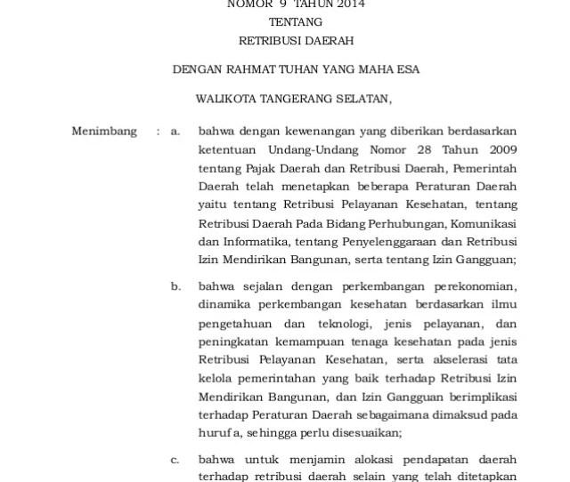 Walikota Tangerang Selatan Provinsi Banten Peraturan Daerah Kota Tangerang Selatan Nomor  Tentang Retribusi