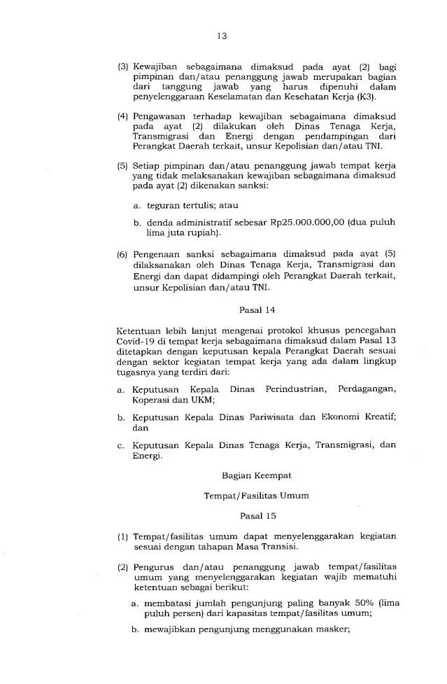 Gubernur Anies Keluarkan Pergub soal Pelaksanaan PSBB Transisi, Ini Isinya 13