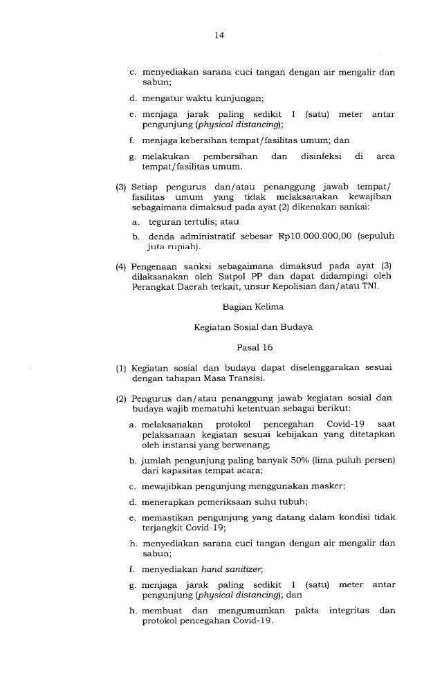 Gubernur Anies Keluarkan Pergub soal Pelaksanaan PSBB Transisi, Ini Isinya 14