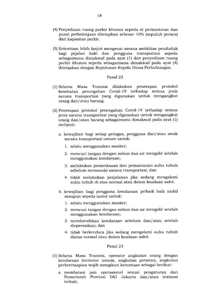 Gubernur Anies Keluarkan Pergub soal Pelaksanaan PSBB Transisi, Ini Isinya 18