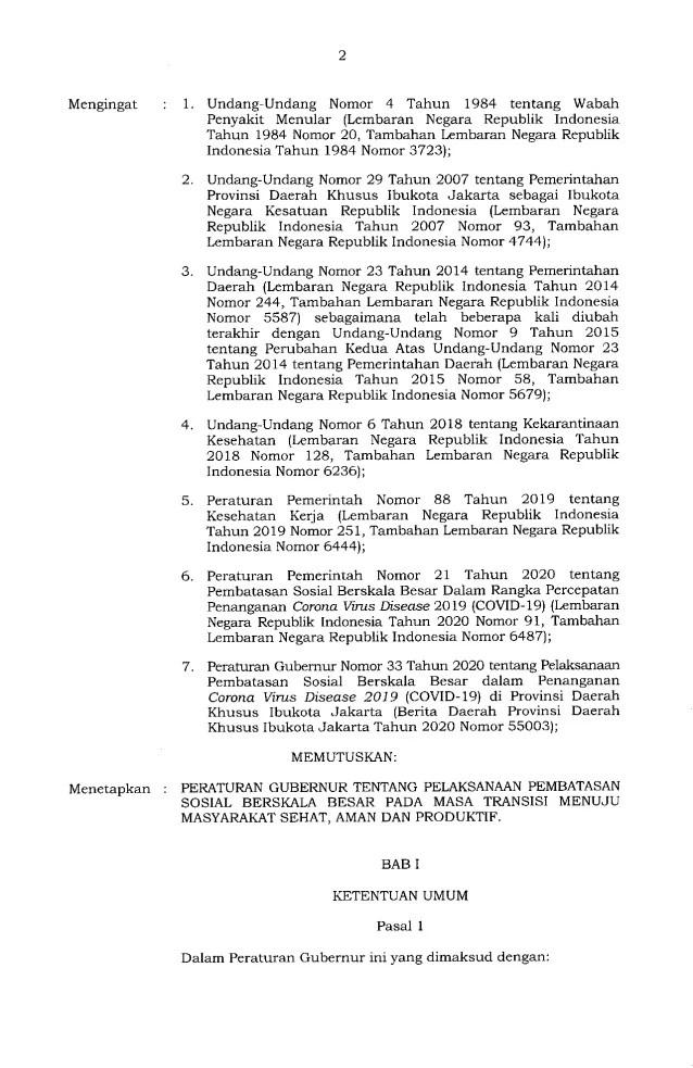 Gubernur Anies Keluarkan Pergub soal Pelaksanaan PSBB Transisi, Ini Isinya 2