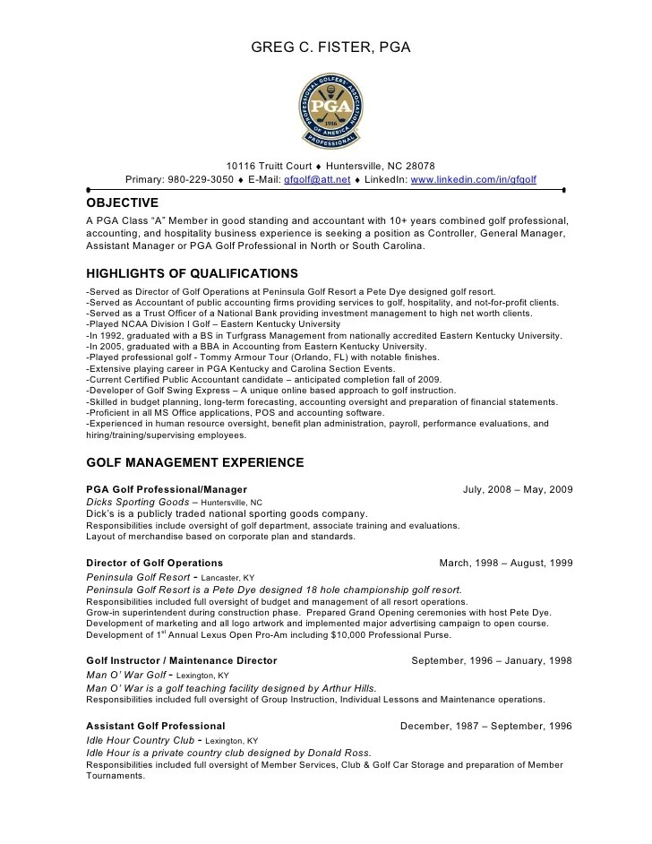 assistant golf professional resume