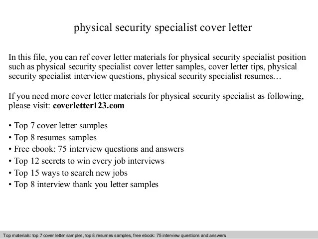 Physical Security Specialist Cover Letter