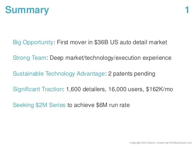 Pitch Deck Template - Summary Slide