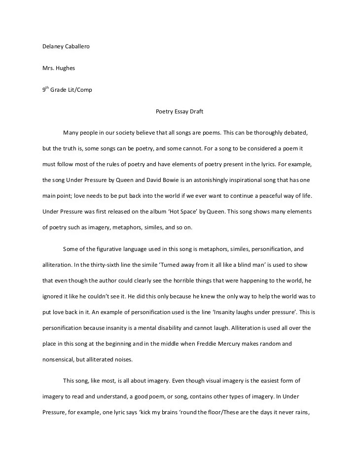 Sample Poem Analysis Essay Sample Literary Analysis Essay Examples