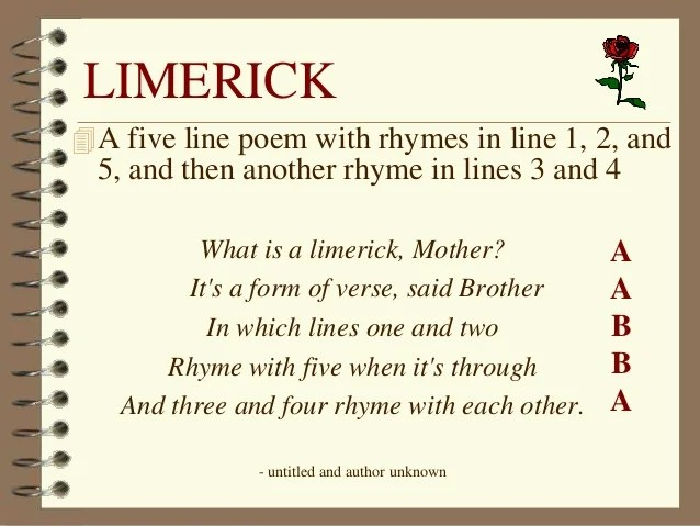 5th 1 3 Rhyming Rhyme Limerick Lines Poems Examples And