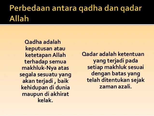 Pengertian Qada Qadar Dan Takdir