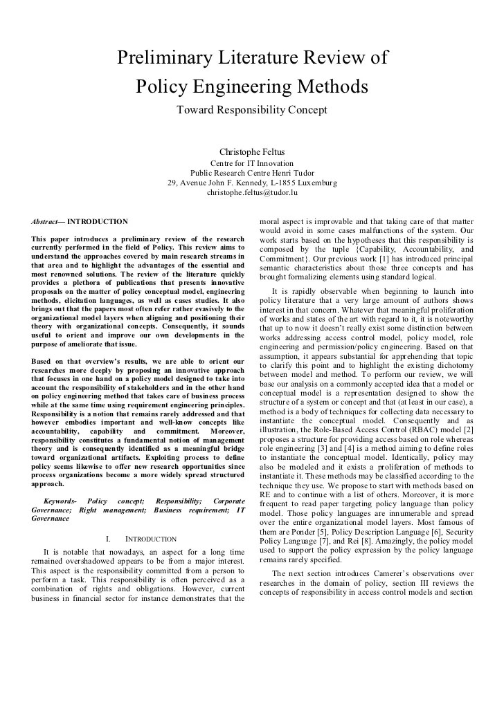 literature review sample paper
