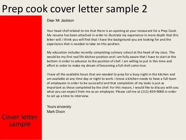 prep cook cover letter