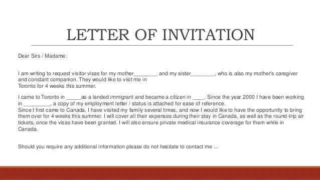 Superb Invitation Letter For Visa Canadian Template Peoplesoft Doc 100 30