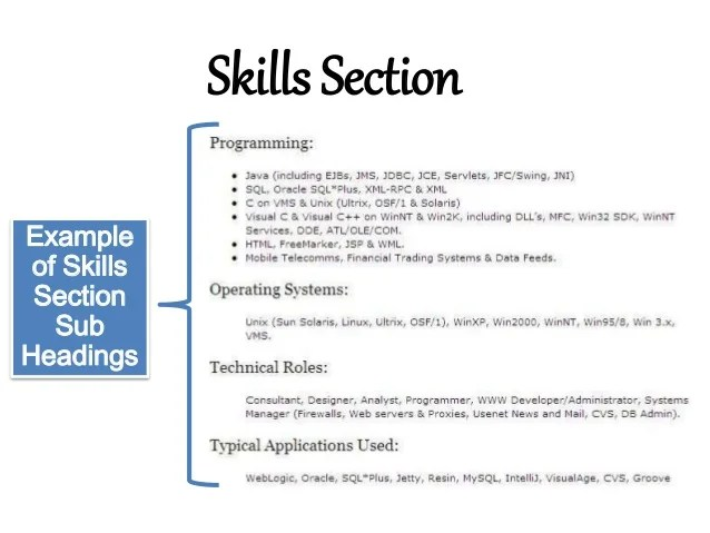 example of resume skills section template