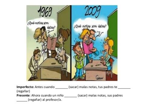 Afbeeldingsresultaat voor antes y ahora el imperfecto