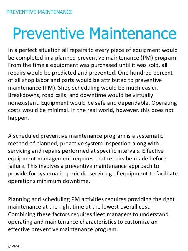 Preventive Maintenance Procedure